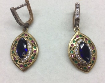 Earrings 925 Sterling Silver with Sapphire Colored Stone and Cz Stones and Brass