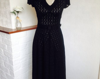 Further reduction! Black dress/70's vintage lace dress/fitted and flare/retro style/size UK 8/midi length/elegant dress/see thru dress
