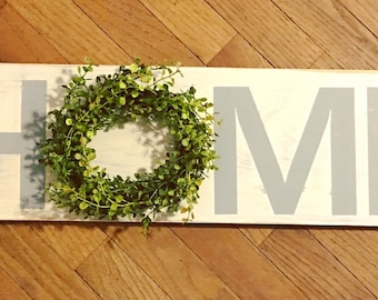 HOME Sign with Baby Grass/Boxwood Wreath