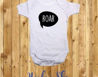 100% White Cotton Baby Vest/Onesie With Roar Print *Baby Shower*Gift*Newborn*