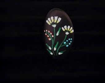 Ring stone painted folk art