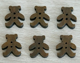 Wood button, bear, carved button, 12 pieces