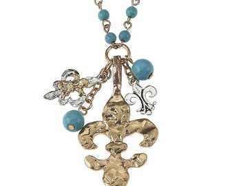 Turquoise Beaded Necklace with Gold Fleur De Lis Pendant