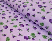 Purple Floral Fabric - Purple Berry Fabric - Purple Fruit Fabric - Lavender Quilting Cotton - Fabric By the Yard - Maywood Studio Fabric