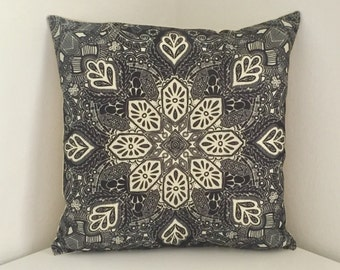 Cushion Cover, Geometric Cushion, Black & White Mandala Print Pillow, Boho Decor