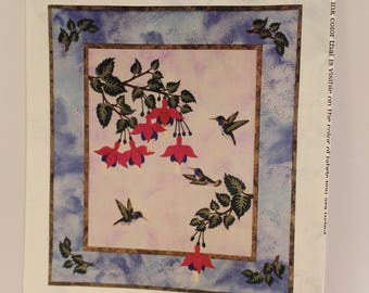 Hummingbird Splendor quilted wall hanging pattern by Sunset Silhouette Designs