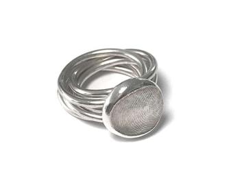 Custom made personalised stackable fingerprint ring - Fingerprint jewellery, mummy ring, gift for her, Mothers Day gift