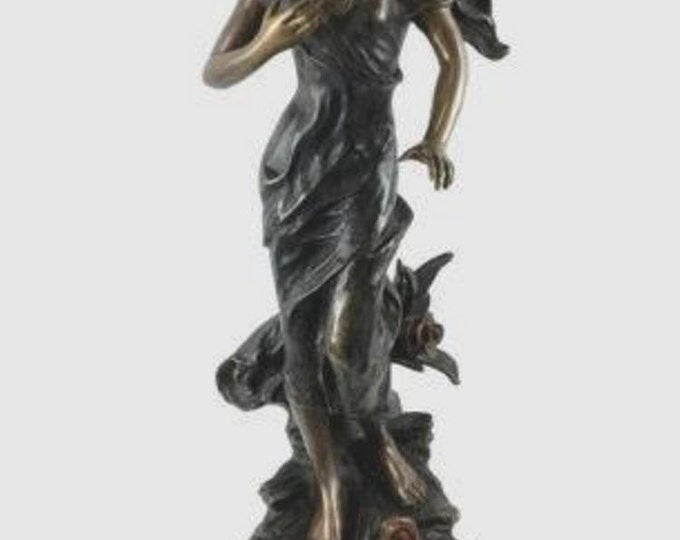 "38 "" Vintage Bronze Statue of Victorian Lady"