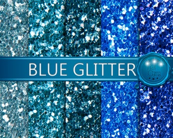 Glitter Digital Paper 3 / Glitter in shades of blue and turquoise / Digital Paper, Digital Glitter, Glitter Backgrounds / Real Photo