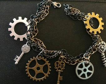 Steampunk inspired charm bracelet