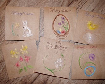 Hand stitched Pricked Easter Cards Choose from 6 Designs Chickies, Bunnies, Basket, Lilies, Egg, Daffodils