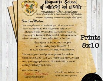 Harry Potter Invitation, Harry Potter Birthday Party, Harry Potter, Acceptance Letter, Birthday Invitation, Potter Party, Hogwarts Letter