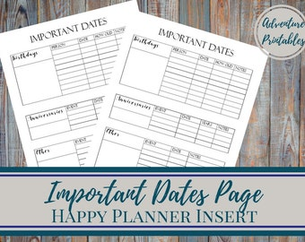 Important Dates Page - Classic Happy Planner Printable Insert, Mambi, Create365, 7x 9.25 in