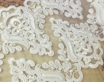 Opulent lace with beads and sequins 21cm white embroidery ornament
