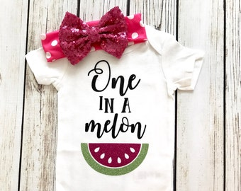 One In A Melon Pink First Birthday Outfit For Baby Girl