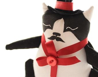 Magicien de cirque, OOAK Doll, «Chat magicien», Textile Art Cat Doll, Cirque du chat, Art Doll, poupée de collection, poupée Textile, chat noir et blanc