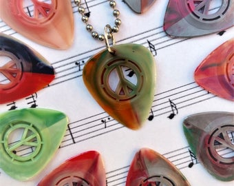 Peace Guitar Picks Pack of 10 with USA Made Necklace Love of Music