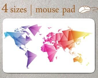 World Map color Custom Mouse Pad modern Mousepad minimalist Mouse Mat geometric Computer Accessory Triangle Mouse Pad Desk Home Decor