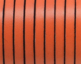 Made in Spain 5mm orange flat leather cord - Genuine orange leather strap to make leather bracelets jewelry, crafts - First quality PER YARD