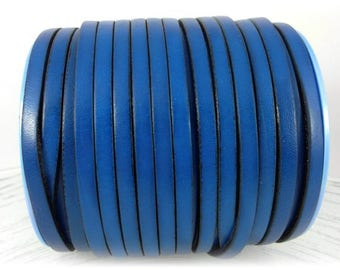 Made in Spain 5mm flat leather cord - Genuine blue leather strap to make leather bracelets jewelry, crafts - First quality PER YARD
