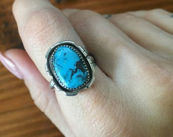 Size 7.5, Sterling Silver Ring, Turquoise Ring, Unique Ring, Southwest Ring, Native American Inspired,Ready To ship