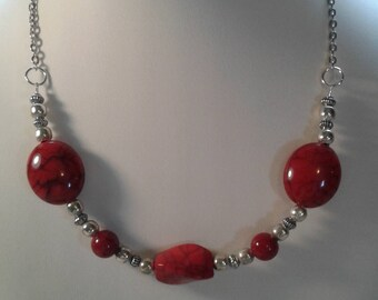 Red stone necklace silver chain