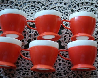 Vintage Set of 6 Plastic Coffee Cups/Set of Six Red and White Coffee Cups / Retro Diner Cups/ Kitchen Decor Purpose Coffee Mugs/ 1980s
