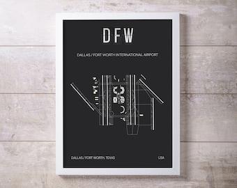 DFW Dallas Fort Worth International Airport Print Map Wall Art