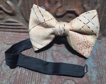 Vintage 1950s/60s Men's Wide Clip On Bow Tie - Cream, Blue, Orange, Brown Striped // vintage formal wear // vintage mens accessories