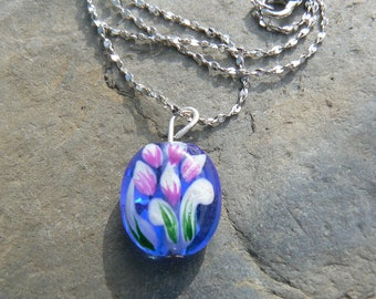Painted blue glass bead necklace