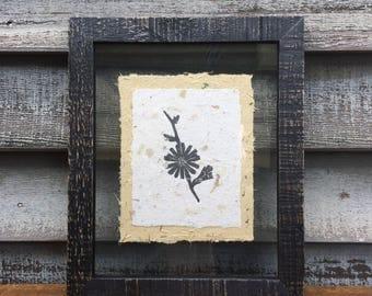 Framed Chicory Block Print on Handmade Paper