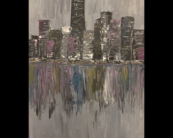 Chicago City Lights Chicago Skyline Lake Michigan Abstract Acrylic on Canvas Original Painting