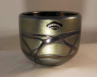 Phoenician Iridescent Trailed Glass Bowl Leonard Sullivan Malta 1989
