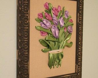 Handmade Purple Tulips Ribbon Embroidery Framed 3D Wall Art Home Decor