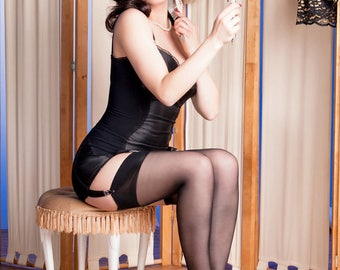 Garter Stockings, Seamed Nylons, French stockings 100% Nylon sizes XS -  XL black seamed with cuban heel