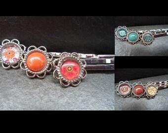3 hair clips, Barrettes, Cabochon, glass pendants, silver, colorful