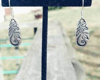 Etched Pewter Teardrop Dangle Earrings