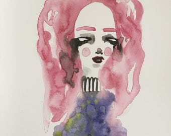 Pink Haired Girl Watercolour Illustration, Cute & Creepy Eyeless Girl Watercolour Print