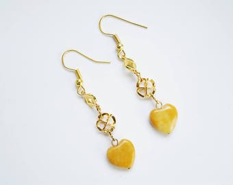 Gold Yellow Jade Earrings