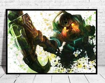 "Nautilus Poster Size up to 33""x47"" League of Legends Print Poster Wall Art Watercolor Decor Canvas LoL,Buy 2 Get 3rd FREE,AG355"
