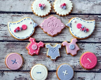 New baby cookies!! Birds, buttons, roses!!
