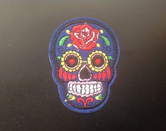 "2"" Sugar skull dia de los muertos day of the dead embroidered iron on patch"