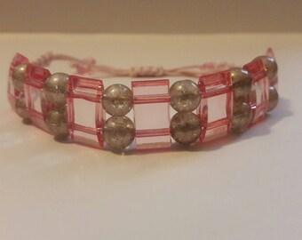 Adjustable Macrame bracelet, pink bracelet, bead bracelet, drawstring bracelet.