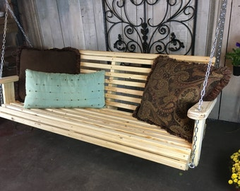 Handmade Wooden Porch Glider With Apple Design Porch Swing