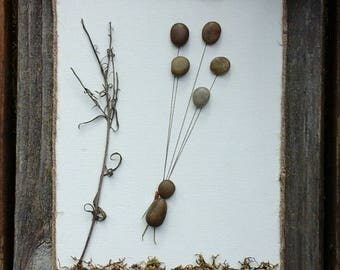 Up,  pebble art,  wall art,  balloons,  rustic,  natural, child,  rock