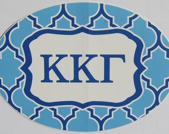 "Large Kappa Kappa Gamma Euro Style Waterproof Vinyl Decal Sticker 7"" X 5"" Nice"