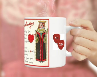 Queen of Hearts, Queen of Hearts Mug, Queen Hearts, Queen Mug, Queen of, Queen of Mug, Mug Queen, Knave of Hearts, Valentines Mug, Mugs