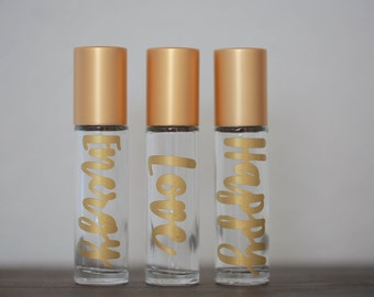 3 Essential Oils Roller Bottle With Label and Metal Roller (3-10 ML bottles) {oils not included}