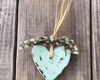 Rastic Wood Heart , Wooden Heart , Valentine's Decor , Anniversary Wedding Gift ,Blue Wooden Heart
