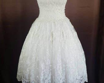 Rockabilly 50s prom wedding dress wedding gown unique in cream